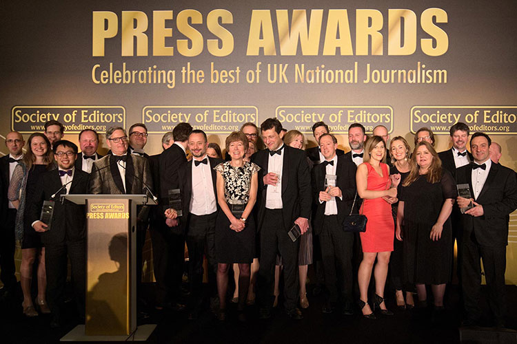 National Press Awards UK event planning and management